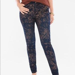 CHICO 1 gold lace foil jegging, stretch - Size: 8